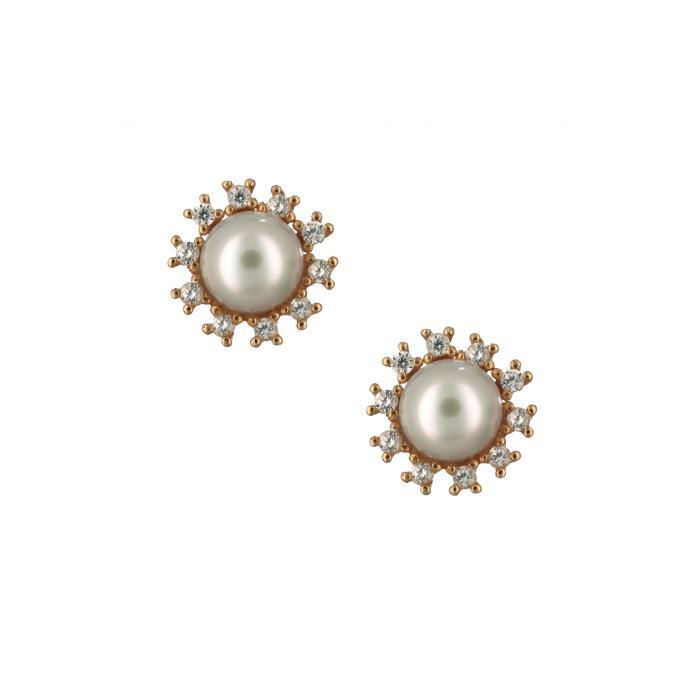SKU-8185 /  Σκουλαρίκια Ροζ Χρυσός Κ14 με Ζιργκόν & Μαργαριτάρι