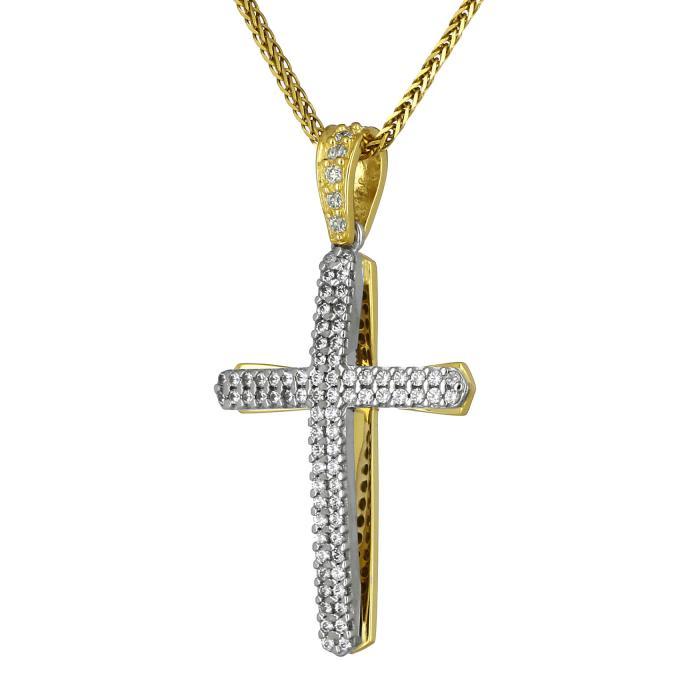 SKU-8214 / Σταυρός Facad'oro Λευκόχρυσος & Χρυσός Κ14 Διπλής Όψεως με Ζιργκόν