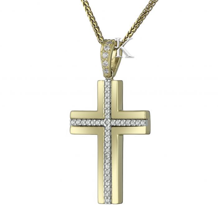 SKU-8231 / Σταυρός Facad'oro Χρυσός & Λευκόχρυσος Κ14 με Ζιργκόν