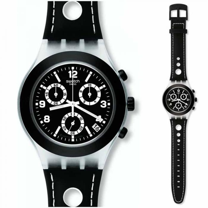 SWATCH Irony Black Cup Black Leather Strap