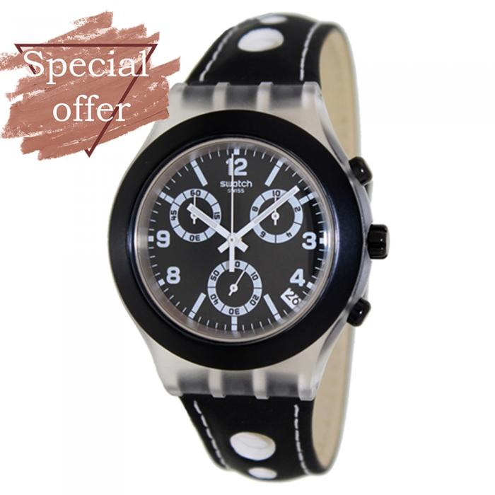 SKU-8310 / SWATCH Irony Black Cup Black Leather Strap