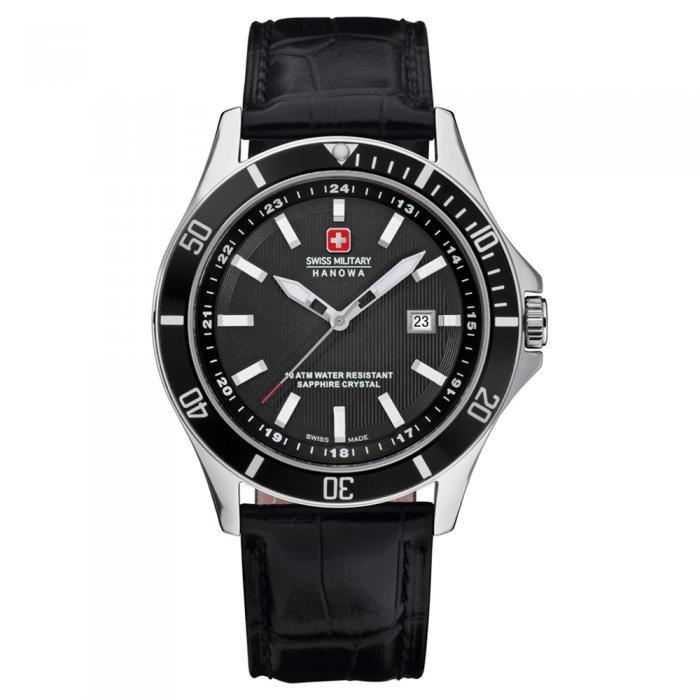 SKU-8840 / SWISS MILITARY HANOWA Flagship Black Leather Strap