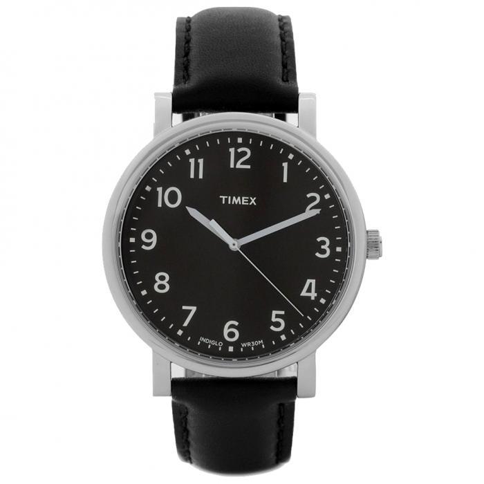 SKU-8635 / TIMEX Black Leather Strap