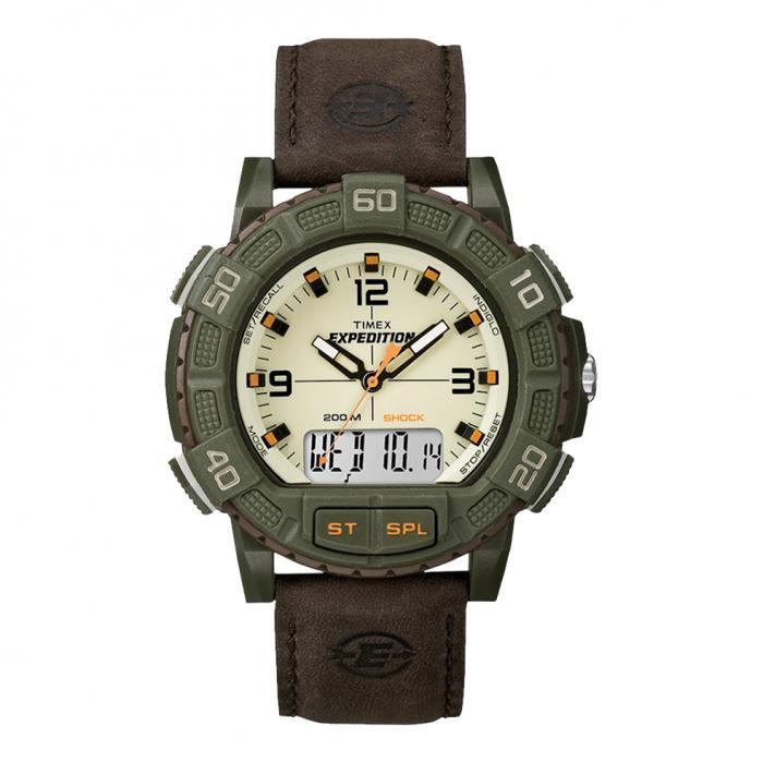 SKU-8650 / TIMEX Expedition Shock Anadigi Brown Leather Strap