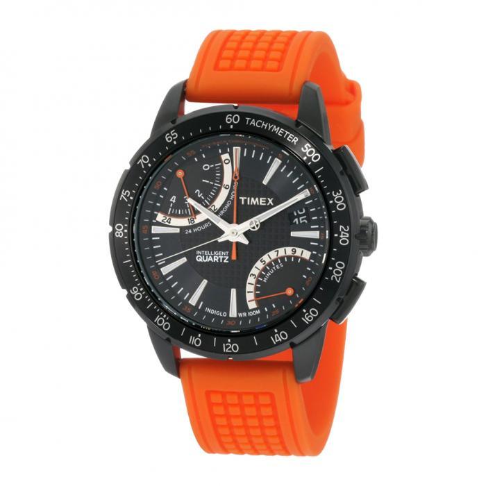SKU-8657 / TIMEX IQ Fly Back Orange Rubber Strap