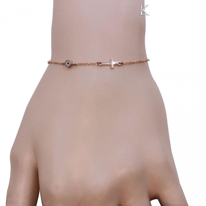 SKU-9855 / Βραχιόλι Ματάκι Ροζ Χρυσός Κ9 με Σμάλτο