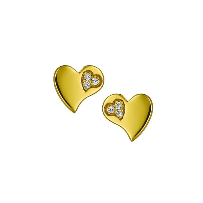 SKU-9433 / Σκουλαρίκια Χρυσός Κ14 με Ζιργκόν