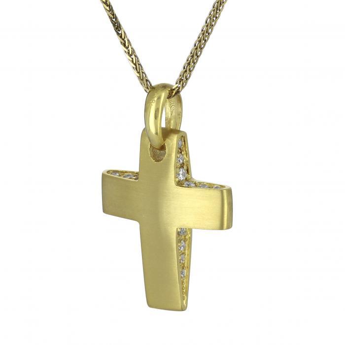 Σταυρός Χρυσός Κ14 με Ζιργκόν