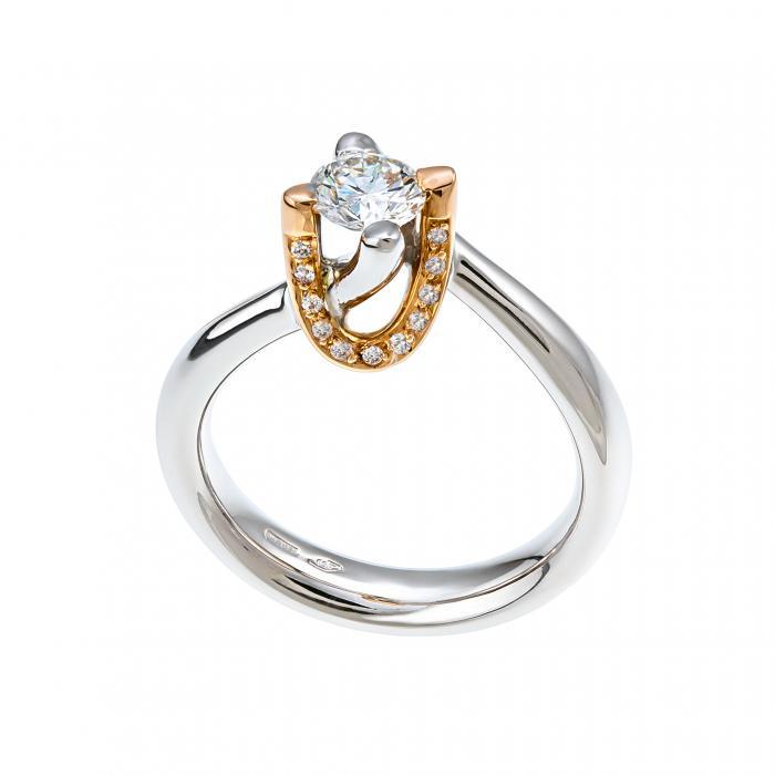 SKU-10401 / Μονόπετρο Δαχτυλίδι Λευκόχρυσος & Ροζ Χρυσός Κ18 με Διαμάντια