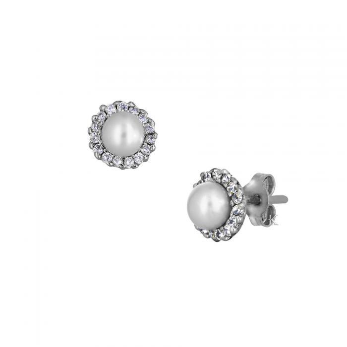 SKU-10057 / Σκουλαρίκια Λευκόχρυσος Κ14 με Μαργαριτάρι & Ζιργκόν