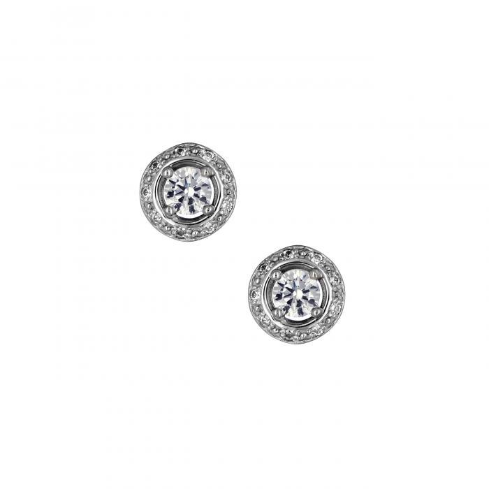 SKU-10847 / Σκουλαρίκια Λευκόχρυσος Κ14 με Ζιργκόν