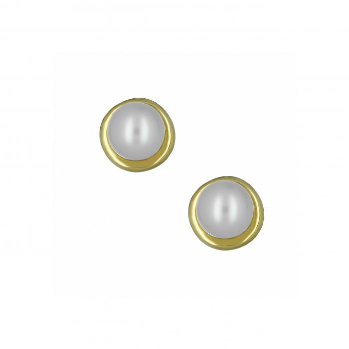 SKU-10044 / Σκουλαρίκια Χρυσός Κ14 με Μαργαριτάρι