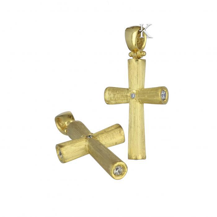 SKU-10152 / Σταυρός Χρυσός Κ14 με Ζιργκόν