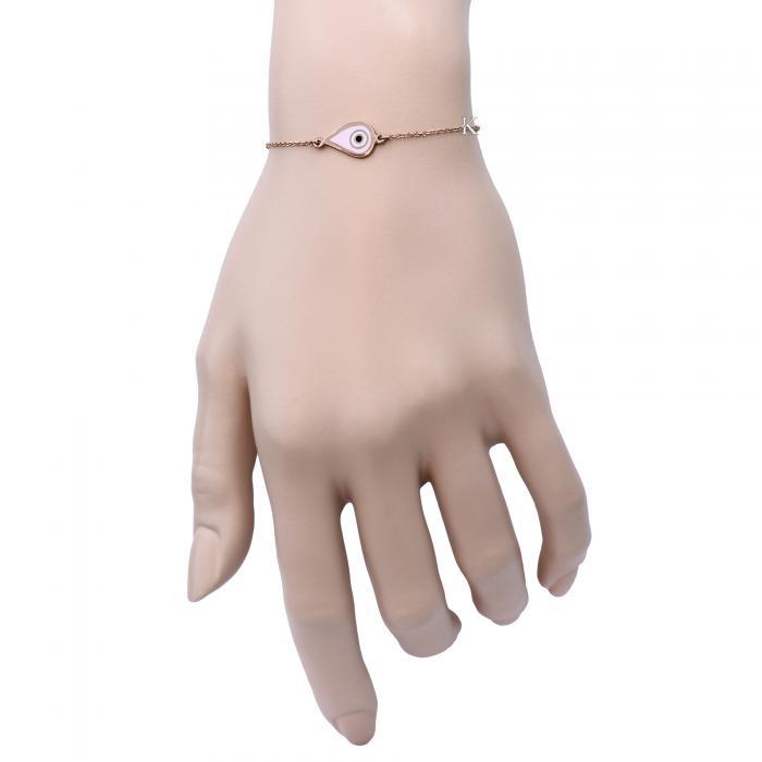 SKU-11683 / Βραχιόλι Ματάκι Ροζ Χρυσός Κ9 με Σμάλτο
