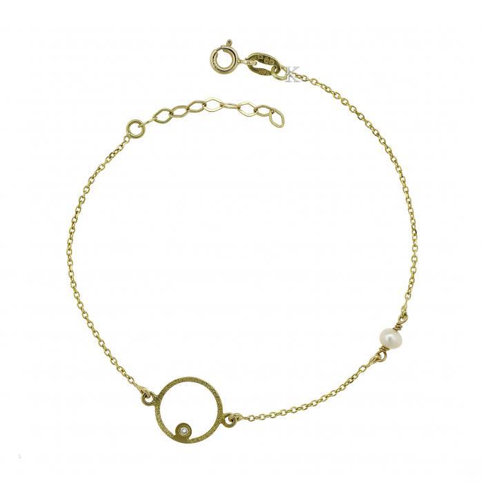 SKU-11561 / Βραχιόλι Χρυσός Κ14 με  Ζιργκόν & Μαργαριτάρι