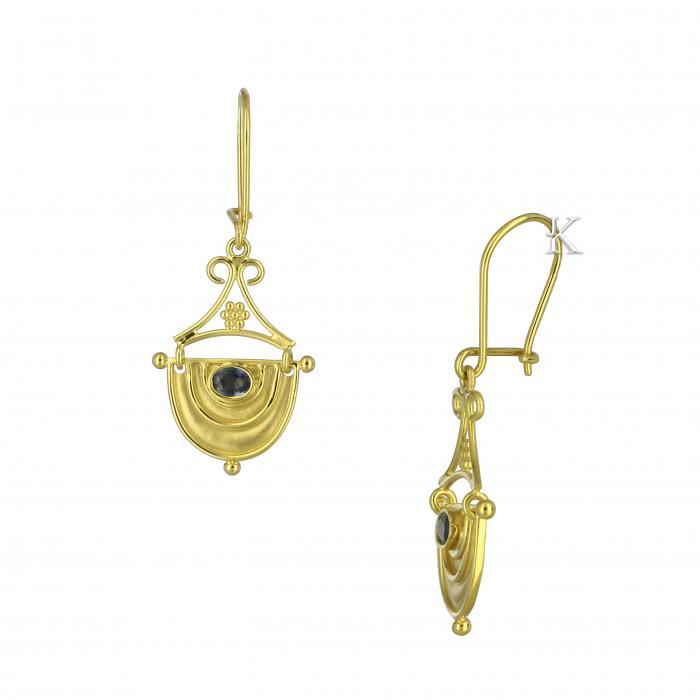 SKU-11760 / Σκουλαρίκια Χρυσός Κ18 με Ζαφείρια