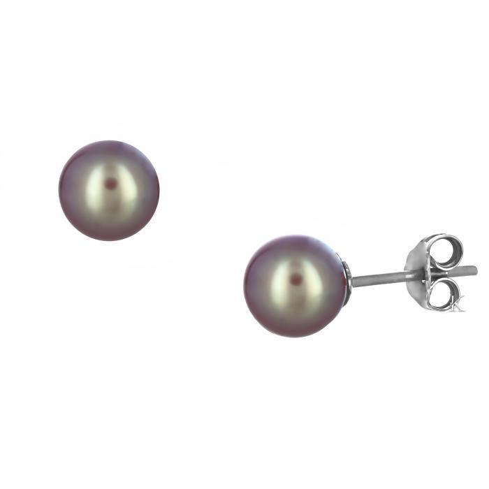 SKU-12485 /  Σκουλαρίκια Λευκόχρυσος Κ14 με Μαργαριτάρι