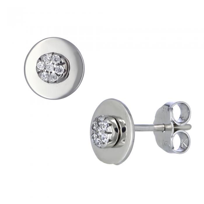 SKU-12399 / Σκουλαρίκια Λευκόχρυσος Κ14 με Ζιργκόν