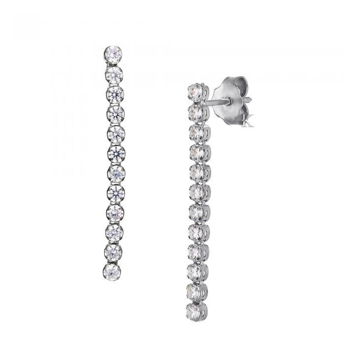 SKU-12583 /  Σκουλαρίκια Λευκόχρυσος Κ14 με Ζιργκόν