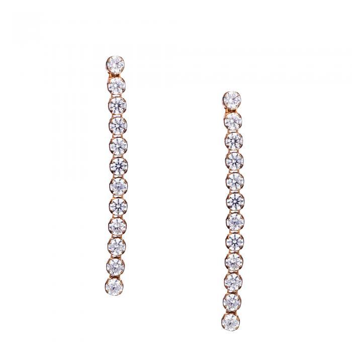 SKU-12586 /  Σκουλαρίκια Ροζ Χρυσός Κ14 με Ζιργκόν