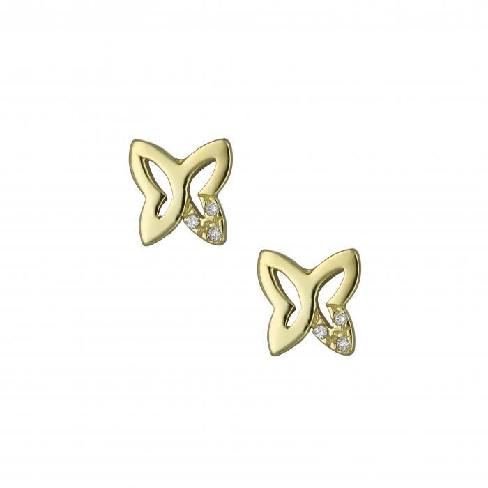 SKU-12410 / Σκουλαρίκια Χρυσός Κ14 με Ζιργκόν