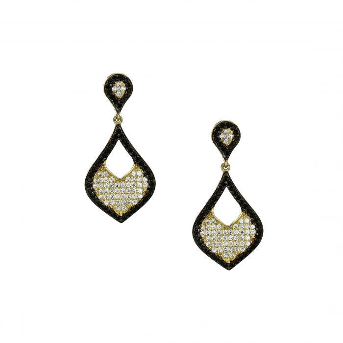SKU-12565 / Σκουλαρίκια Χρυσός Κ14 με Ζιργκόν
