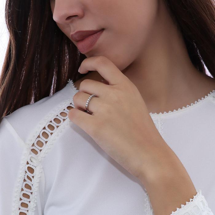 Δαχτυλίδι Σειρέ Λευκόχρυσος Κ18 με Διαμάντια