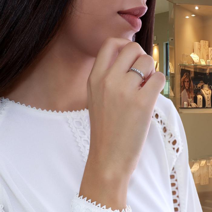 Δαχτυλίδι Λευκόχρυσος Κ18 με Διαμάντια