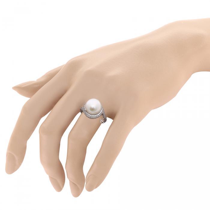 Δαχτυλίδι Λευκόχρυσος Κ18 με Μαργαριτάρι & Ζιργκόν