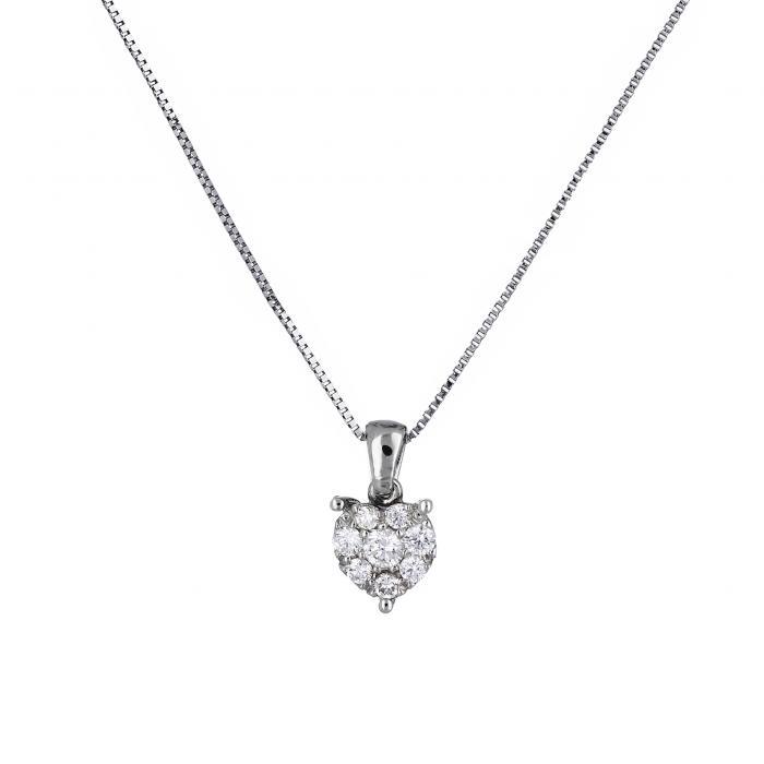 SKU-13190 / Μενταγιόν Λευκόχρυσος Κ18 με Διαμάντια