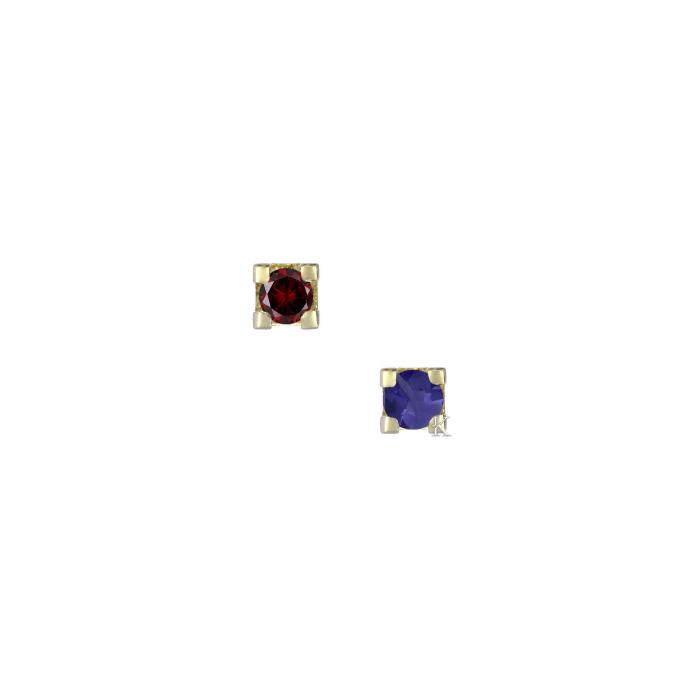 Σκουλαρίκια Χρυσός Κ14 με Γενέθλιους Λίθους