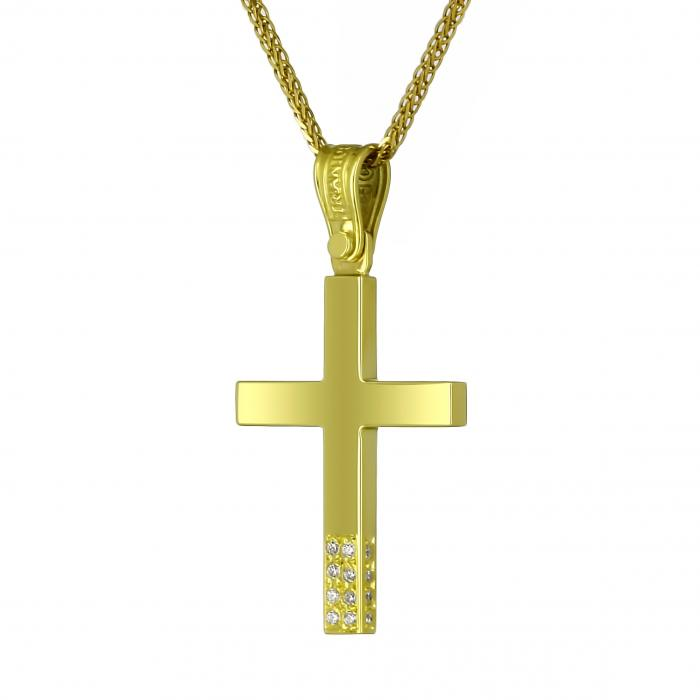 SKU-13736 / Σταυρός Τριάντος Χρυσός Κ14 με Ζιργκόν