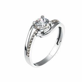 Δαχτυλίδι Λευκόχρυσος Κ14 με Ζιργκόν SKU-14551