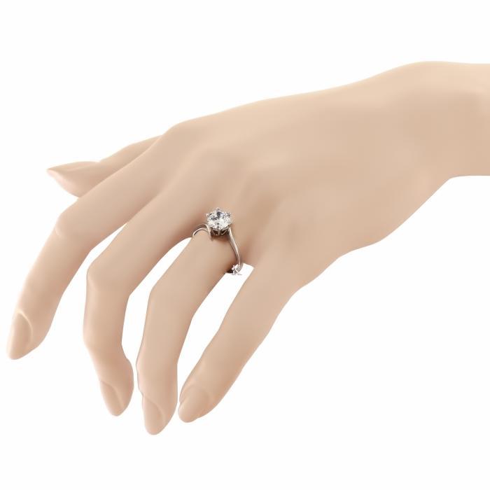 SKU-14540 / Δαχτυλίδι Μονόπετρο FaCad'oro Λευκόχρυσος Κ14 με Ζιργκόν