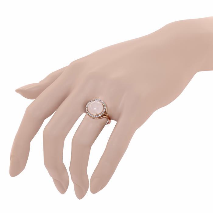Δαχτυλίδι Ροζ Χρυσός Κ14 με Rose Quartz & Ζιργκόν