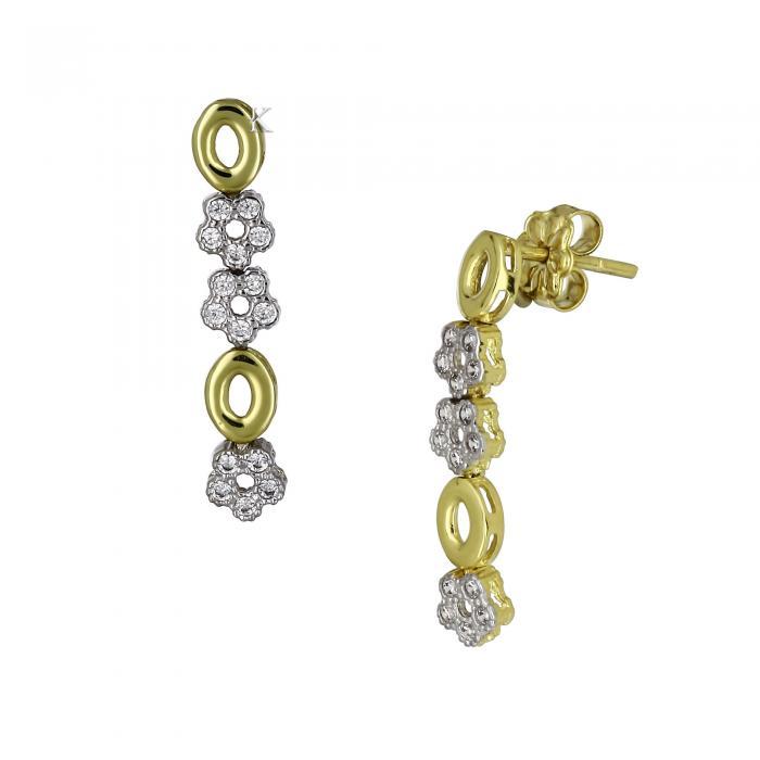 SKU-14879 / Σκουλαρίκια Λευκόχρυσός & Χρυσός Κ14 με Ζιργκόν