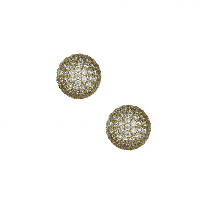 SKU-14793 / Σκουλαρίκια Χρυσός Κ14 με Ζιργκόν