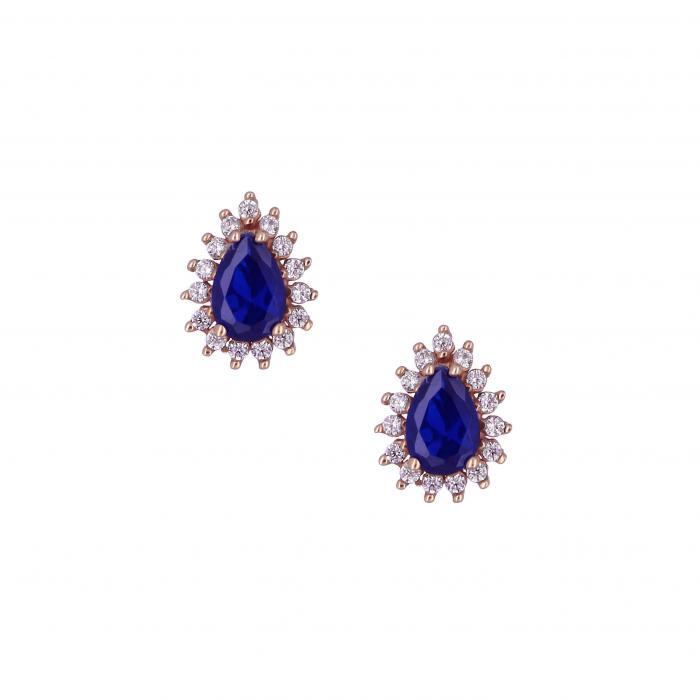 SKU-15735 / Σκουλαρίκια Ροζ Χρυσός Κ14 με Ζιργκόν