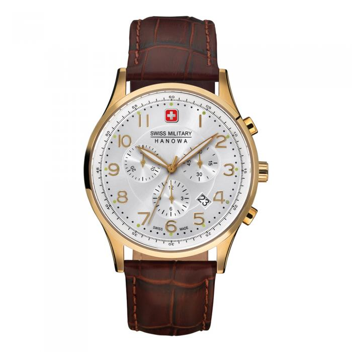 SKU-15686 / SWISS MILITARY HANOWA Patriot Chronograph Brown Leather Strap