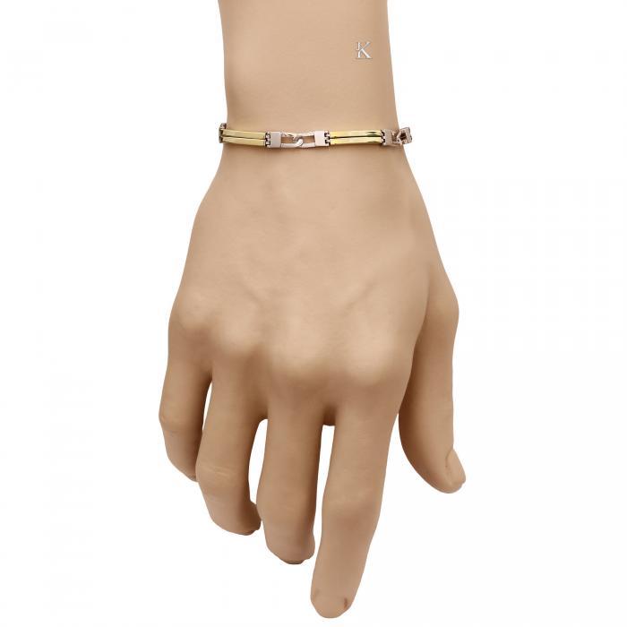 SKU-15671 /  Χειροπέδα Χρυσός & Λευκόχρυσος K14