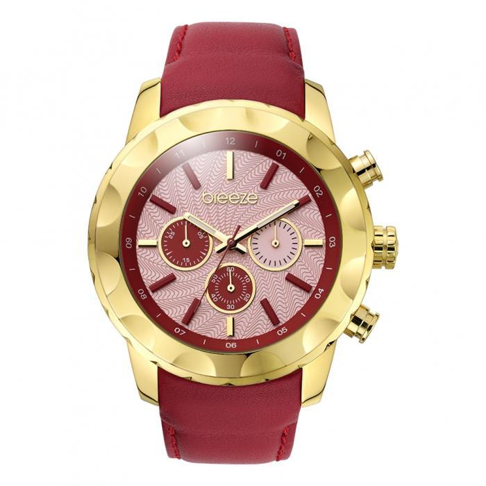 SKU-16792 / BREEZE Midtown Cocktail Chrono Red Leather Strap