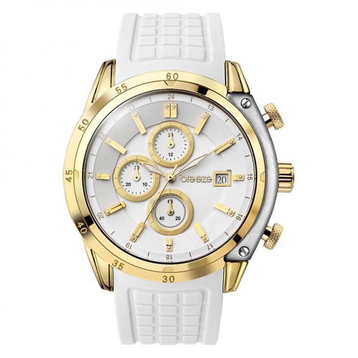 SKU-16435 / BREEZE Stylish Tech Gold White Strap