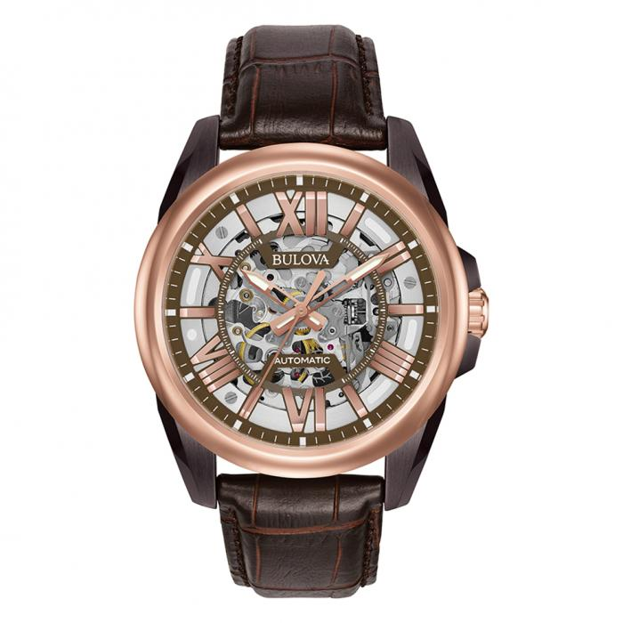SKU-16116 / BULOVA Automatic Brown Leather Strap