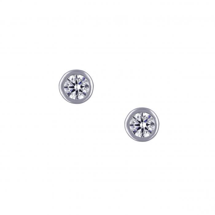 SKU-16133 / Σκουλαρίκια Λευκόχρυσος Κ14 με Ζιργκόν