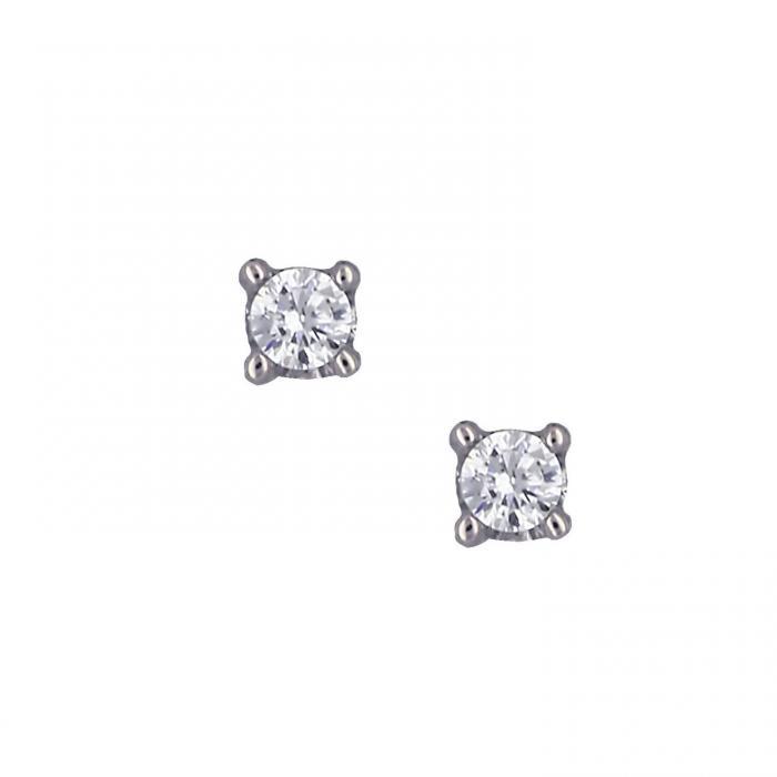 SKU-16130 / Σκουλαρίκια Λευκόχρυσος Κ14 με Ζιργκόν