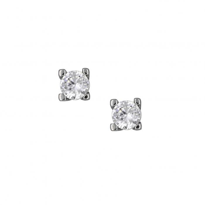 SKU-16135 / Σκουλαρίκια Λευκόχρυσος Κ14 με Ζιργκόν