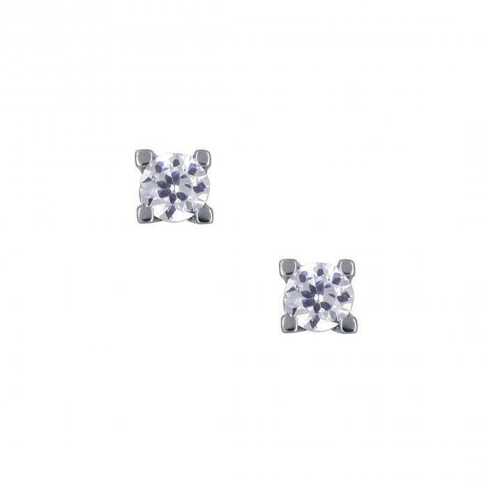 SKU-16148 / Σκουλαρίκια Λευκόχρυσος Κ14 με Ζιργκόν