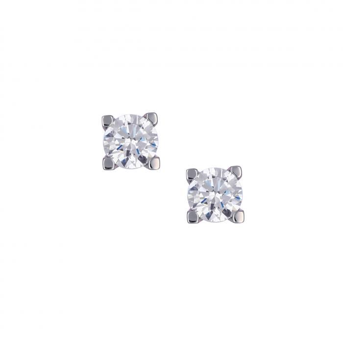SKU-16157 / Σκουλαρίκια Λευκόχρυσος Κ14 με Ζιργκόν