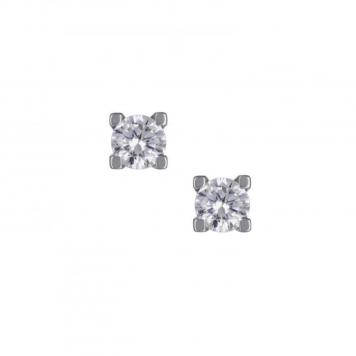 SKU-16166 / Σκουλαρίκια Λευκόχρυσος Κ14 με Ζιργκόν