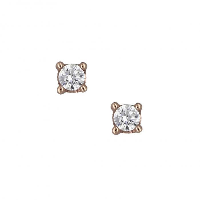SKU-16127 / Σκουλαρίκια Ροζ Χρυσός Κ14 με Ζιργκόν